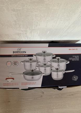 Набор кастрюль и сковорода из нержавеющей стали 12 предметов