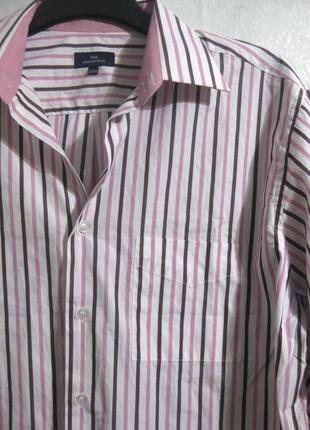 Рубашка tex urbanmenshirts белая розовая полоска офис разноцве...