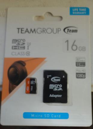 Карта памяти microSD 16Гб 10 класс
