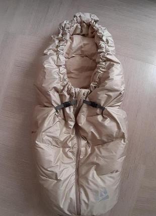 Конверт осенне-зимний пуховый для новорожденного рост 62см