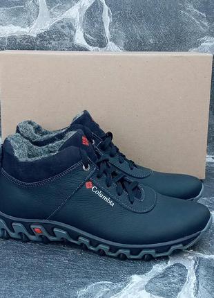 Мужские зимние ботинки columbia city winter boots кожаные, черные