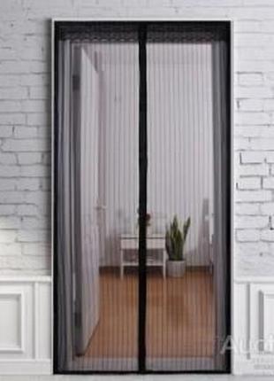 Дверная антимоскитная сетка на магнитах 100х210 см Чёрная
