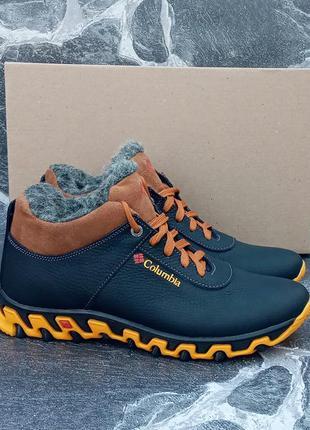 Мужские зимние ботинки columbia city winter boots черные,кожан...