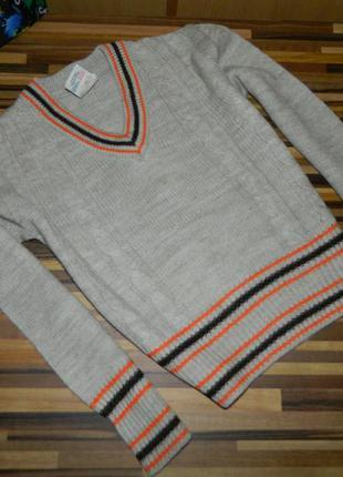 Кофта свитер джемпер детский бежевый на мальчика к 5-6 лет