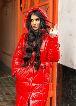 Зимняя длинная куртка пуховик пальто