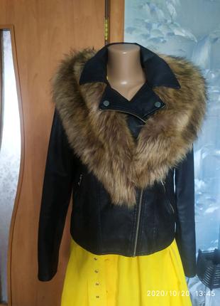 Куртка кожанка с мехом 12р