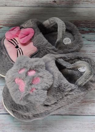 Детские меховые тапочки комнатные для дома домашние 24-29р.котики
