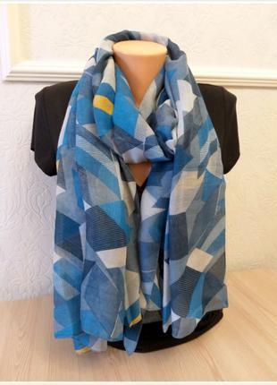 Хлопковый шарф палантин ромб синий
