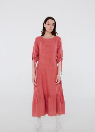 Модное льняное платье из льна season кораллового цвета