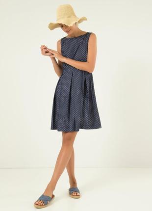 Летнее платье season синее в мелкий горошек