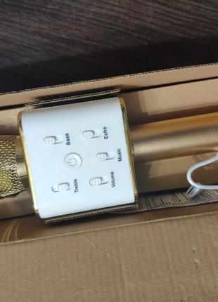 Микрофон караоке bluetooth Q7 золотой