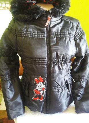 Распродажа Куртка зимняя с капюшоном mini mouse теплая,..