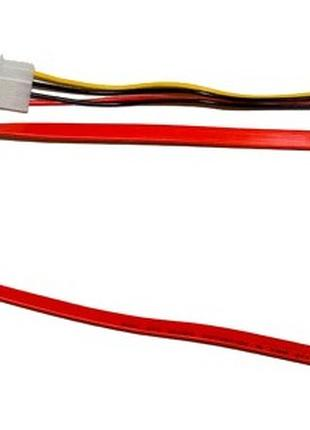 Кабель SATA комбо (сдвоенный) (data+power) 7+15pin ->7+4pin (big)