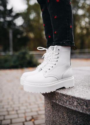 Шикарные кожаные зимние ботинки сапоги dr. martens jadon white...
