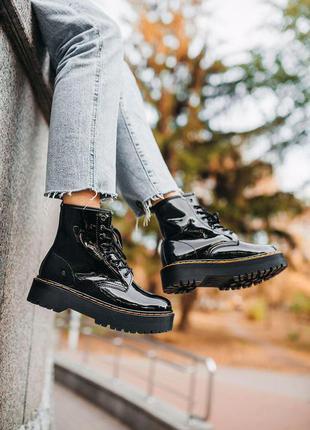 Шикарные кожаные осенние ботинки сапоги dr. martens jadon blac...