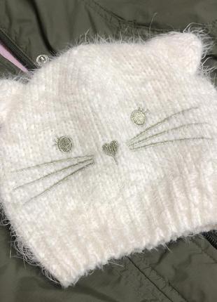 Шапка с ушками белая волосатая шапка котик вязаная шапка 52 ра...