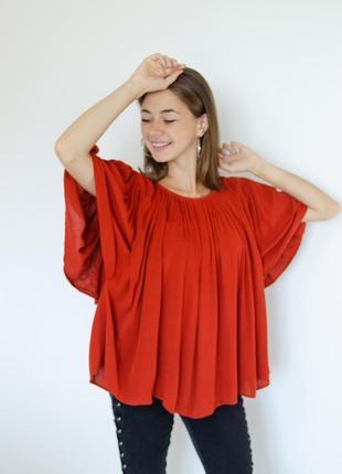Mango жатая блуза свободного фасона, oversize блузка