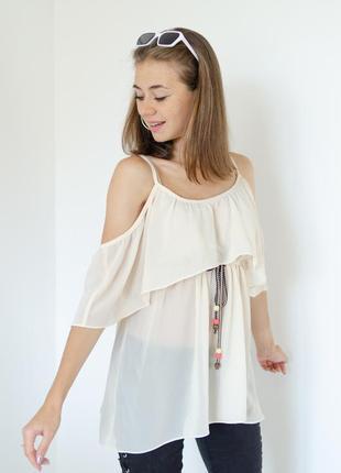 Sophyline бежевая блуза с открытыми плечами, пастельная блузка...