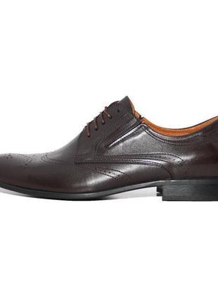 Кожаные мужские туфли классические броги оксфорды челси