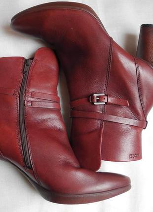 Новые ботильны ботинки «ecco» р. 41 стелька 26,5 каблук кожа