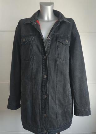 Джинсовая длинная куртка на утеплителе new look черного цвета