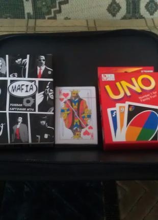 Комплект карточных игр Уно Мафия карты в чехле для хранения