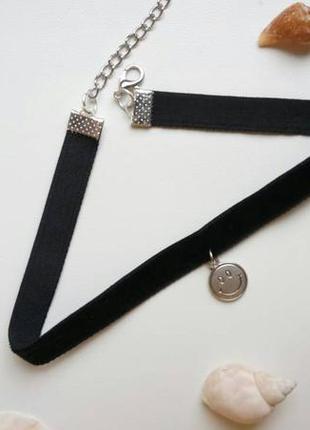 Чокер бархатный черный, с подвеской смайл, велюровый, чорний, ...