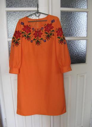 Платье-вышиванка, ручная вышивка по полотну