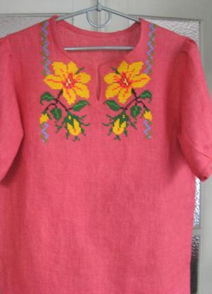 Блузка из льна бордовая, вышиванка, вышивка ручная по полотну