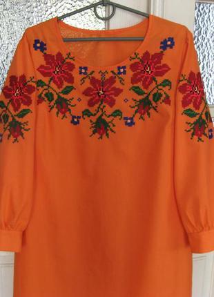 Платье - вышиванка ручной работы с подарком, ручная вышивка по...