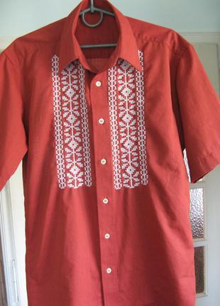 Рубашка вышитая, современная вышиванка, вышивка ручная по полотну