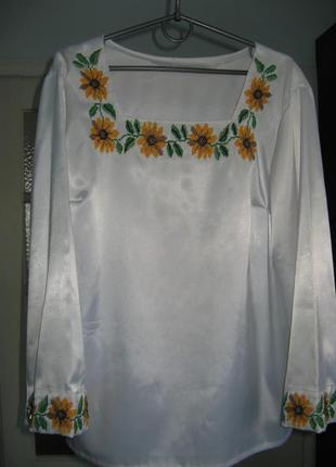 Вышитая сорочка женская - вышиванка с подсолнухами, ручная выш...