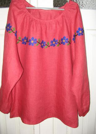 Вышитая блузка из льна, вышиванка ручной работы, ручная вышивка