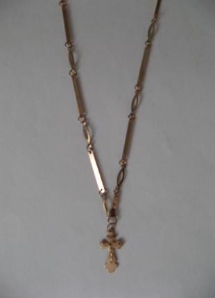 Цепочка с крестиком под золото
