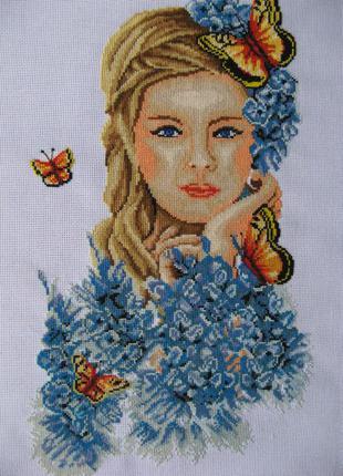 Картина девушка-весна вышита крестиком, 45х29