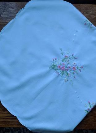 Скатертина біла, хустина, пеленка з вишивкою 85х85