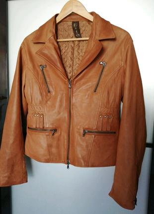 Кожаная шкіряна куртка косуха бежевого цвета, размер л