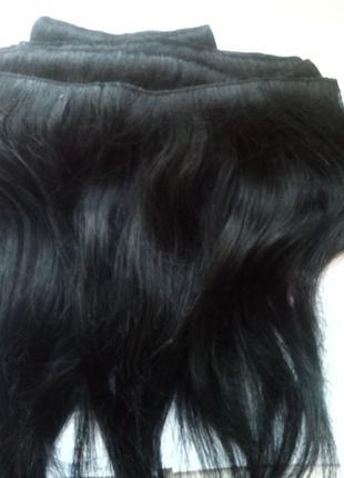 Натуральные черные волосы на заколках + расческа к ним в подарок