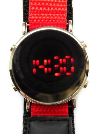 Зеркальные led часы с нейлоновым ремешком на липучке