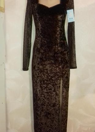 Длинное бархатное платье выпускное в шоколадном цвете, прямое,...