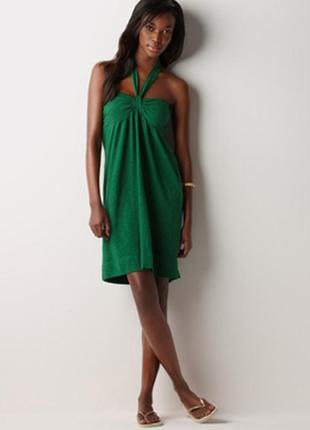 Платье изумрудного цвета, модал, летнее, пляжное.