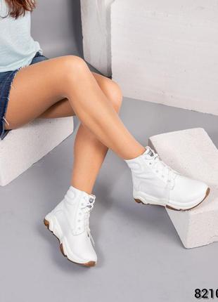 Кожаные женские спортивные ботинки натуральная кожа высокие кр...