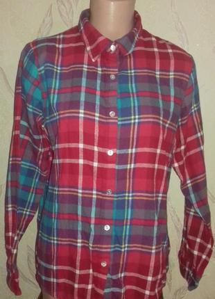 Теплая рубашка в клеточку красный с бирюзовым.