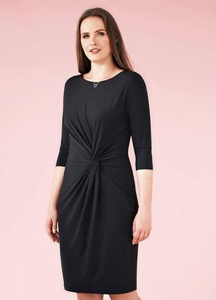 Строгое черное платье 3/4 рукав, базовое, классическое.