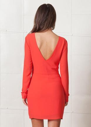 Коралловое платье свободное с длинным широким рукавом, ретро