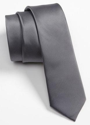 Серый галстук узкий, унисекс