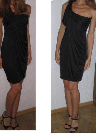 Черное платье с открытым плечом, для беременных. нарядное, вып...