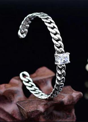 🌟🌺⭐️стильнейший трендовый серебряный браслет с цирконием