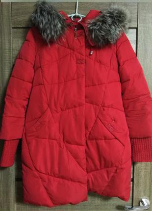 Пальто зимнее синтепон,красный цвет размер s-m, натуральный ме...