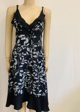 Черно белое летнее платье сарафан, вискоза